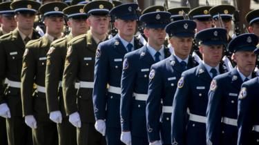Members of the Irish Defence Forces at the Easter Rising commemoration in Dublin