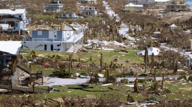 Damaged homes in Hope Town, Bahamas