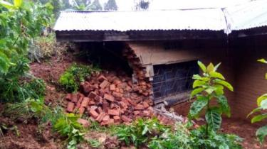 A house destroyed by a landslide