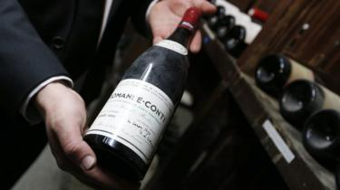 A bottle from of wine from Domaine de la Romanée-Conti farm