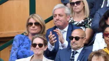 John Bercow with his wife Sally at Wimbledon
