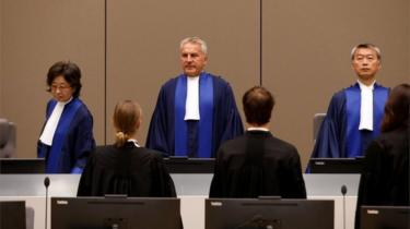 Judges at the ICC at the trial of Congolese warlord Bosco Ntaganda, 28 August 2018