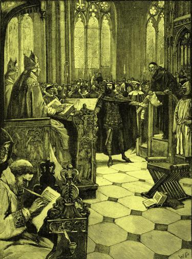 El juicio contra John Wycliffe en la catedral St Paul de Londres tuvo lugar el 3 de febrero de 1377.