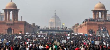 Protesters outside Delhi's parliament in December 2012