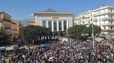 Algerians participate in a protest rally against ailing president's bid for a fifth term in power, in the north-eastern city of Annaba on 3 March.