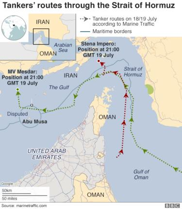 Map showing the two tankers' routes through the Strait of Hormuz