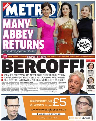 Metro front page Tuesday 10 September 2019