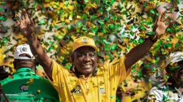 Cyril Ramaphosa waves at thousands of supporters after delivering his speech at the Ellis Park stadium in Johannesburg, on May 5, 2019