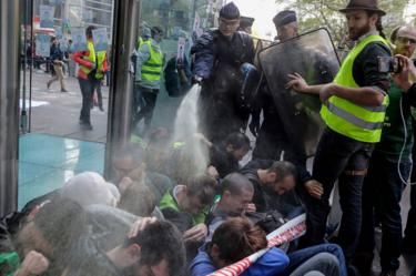 Pepper spray was used against the protesters