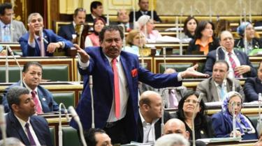 Egyptian lawmakers attend a session to vote on a constitutional reform, in Cairo, Egypt, 16 April 2019.