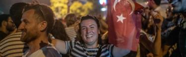 Turkish people gather to celebrate after the Istanbul mayoral election