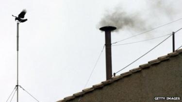 Chimney issuing smoke