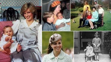 Diana com William bebê; a rainha Elizabeth 2ª com seus filhos e ela na infância, ao lado da irmã Margaret; Kate Middleton