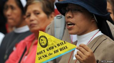 Nun protesting the reproductive bill in Philippines