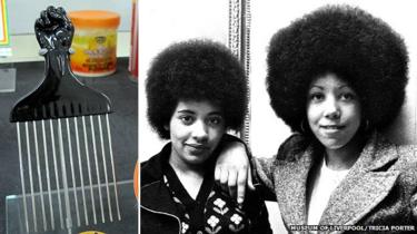 black power fist comb and two girls with massive afros
