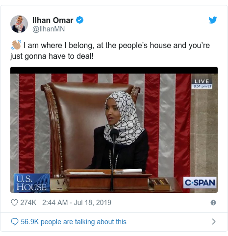 Twitter post by @IlhanMN: 👋🏽 I am where I belong, at the people's house and you're just gonna have to deal!