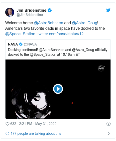Twitter post by @JimBridenstine: Welcome home @AstroBehnken and @Astro_Doug! America's two favorite dads in space have docked to the @Space_Station.