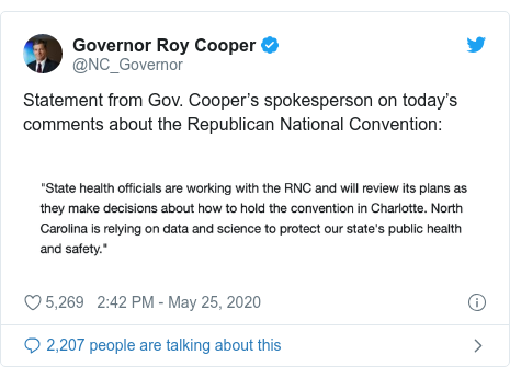 Twitter post by @NC_Governor: Statement from Gov. Cooper's spokesperson on today's comments about the Republican National Convention