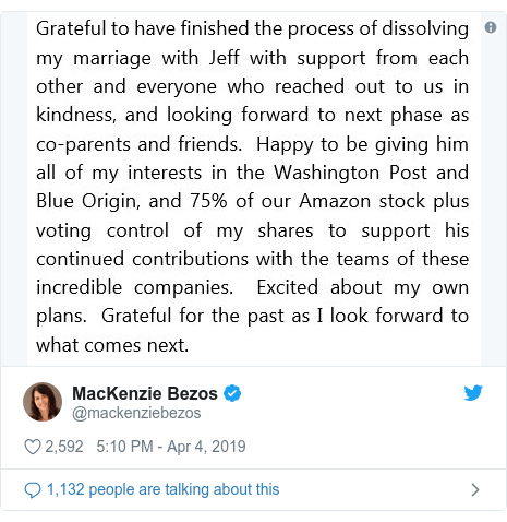 Twitter post by @mackenziebezos: