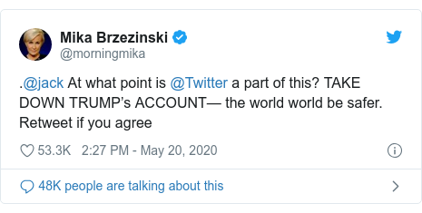 Twitter post by @morningmika: .@jack At what point is @Twitter a part of this? TAKE DOWN TRUMP's ACCOUNT— the world world be safer. Retweet if you agree