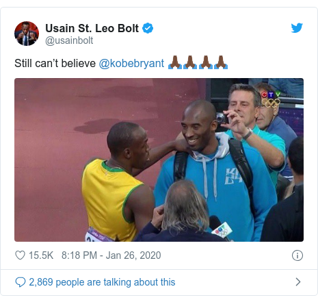 Twitter post by @usainbolt: Still can't believe @kobebryant 🙏🏿🙏🏿🙏🏿🙏🏿