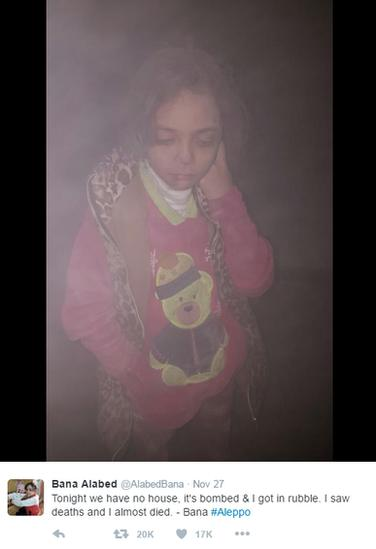 "Tweet: ""Tonight we have no house, it's bombed & I got in rubble. I saw deaths and I almost died. - Bana #Aleppo"""
