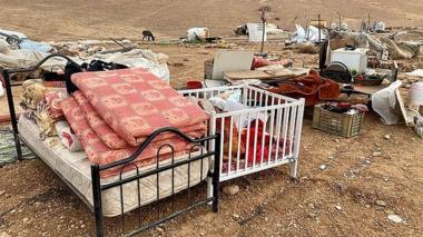 Photo published by UN Office for the Co-ordination of Humanitarian Affairs showing demolished homes in the Bedouin settlement of Khirbet Humsa, in the occupied West Bank (4 November 2020)