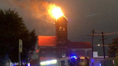 A bell tower on fire in Sydney