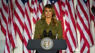 Melania Trump speaks from the White House Rose Garden