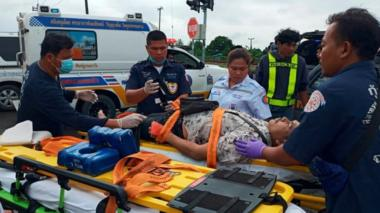 An injured person is cared for by rescue workers