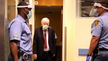 Ratko Mladic (C) arriving for his appeal against his sentence at the UN tribunal in The, Hague, the Netherlands, 25 August 2020