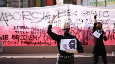 Women protest against imposing further restrictions on abortion law in Poland in Szczecin, Poland October 22, 2020