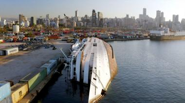 The Orient Queen vessel on its side