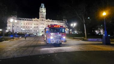 A firefighter truck is parked in front of the National Assembly of Quebec, in Quebec City, early on 1 November, 2020.
