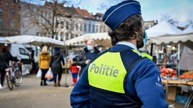 A patrol of the Antwerp local police, in Antwerp, Friday 30 October 2020.