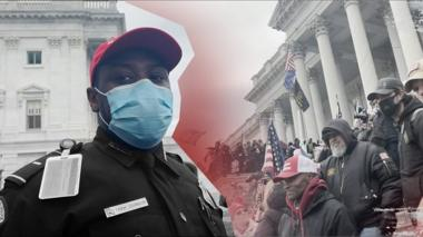 Capitol Police officer wearing a MAGA hat