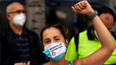 A protesting Nissan worker in Barcelona, 18 Jun 20