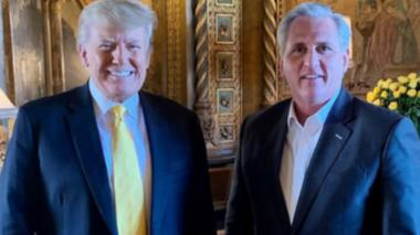 Former US President Donald Trump (left) and House Minority Republican Leader Kevin McCarthy at Mar-a-Lago, Florida. Photo: 28 January 2021