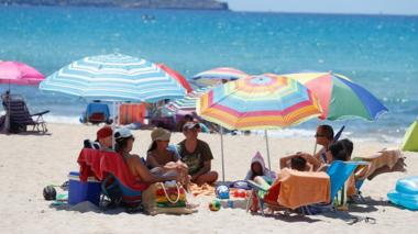 Tourists on a beach in Majorca, 21 Jun 20