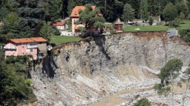 Flood damage in Saint-Martin-Vesubie, south-eastern France