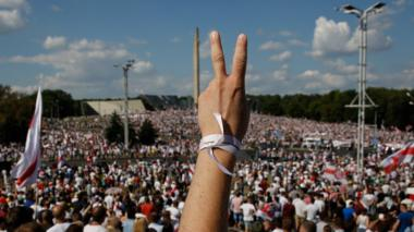 Thousands of people attend a rally in support of the Belarusian opposition