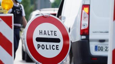 File pic of police halt sign near Strasbourg