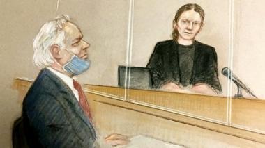 Drawing of Julian Assange in court