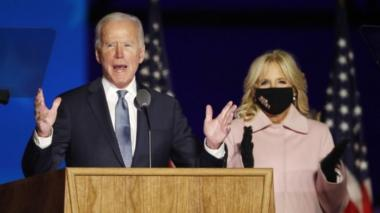 Joe Biden (left) speaks with Dr Jill Biden at his election night event at the Chase Center in Wilmington, Delaware, USA, 3 November 2020