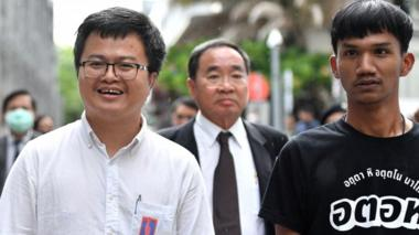 Anon Nampa and Panupong Jadnok, two of the leaders of recent anti-government protests