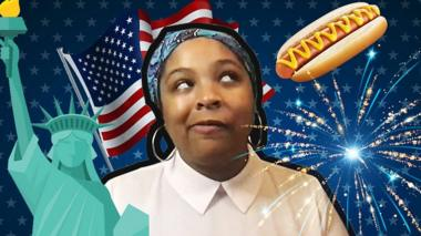 Arielle with a collage of American things