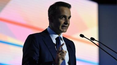 """Greek Prime Minister Kyriakos Mitsotakis delivers his annual speech on the state of the country""""s economy, in Thessaloniki, Greece"""