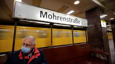 A sign for Mohrenstrasse subway station is seen in central Berlin, Germany, July 9, 2020