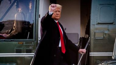 Donald Trump departs the White House for the last time in Washington, DC