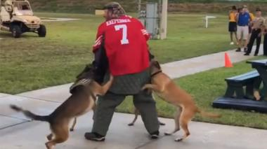 Screenshot showing a man in a Kaepernick jersey being attacked by dogs during a demonstration
